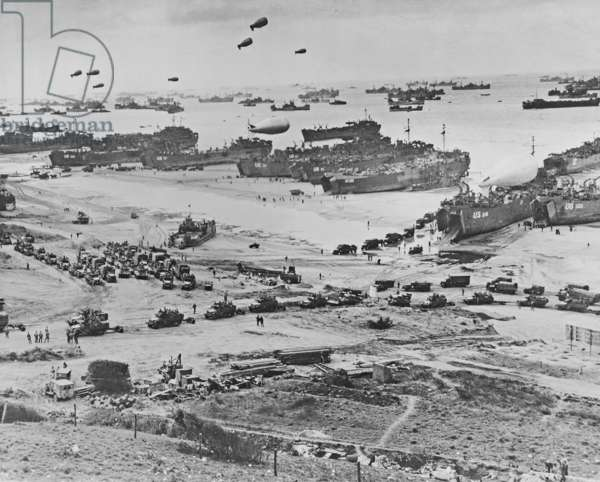 Bird's-eye view of landing craft, barrage balloons, and allied troops landing in Normandy, France on D-Day, 6th June, 1944 (gelatin silver print)