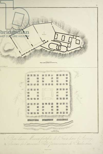 Plan of a Fortified Inca Dwelling at Assuay; and Ruins of the Ancient Peruvian City of Chulucanas, engraved by Bouquet, illustration from 'Vues des Cordillères et Monumens des Peuples Indigènes de l'Amérique' by Alexander von Humboldt and Aime Bonpland, 1813 (engraving)