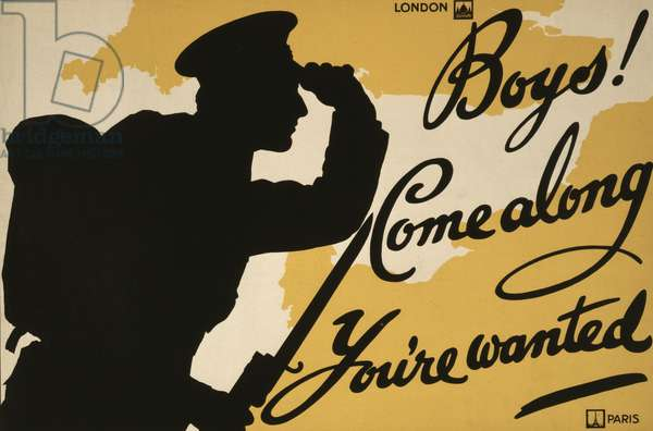 Boys! Come along, you're wanted, 1915 (colour lithograph)