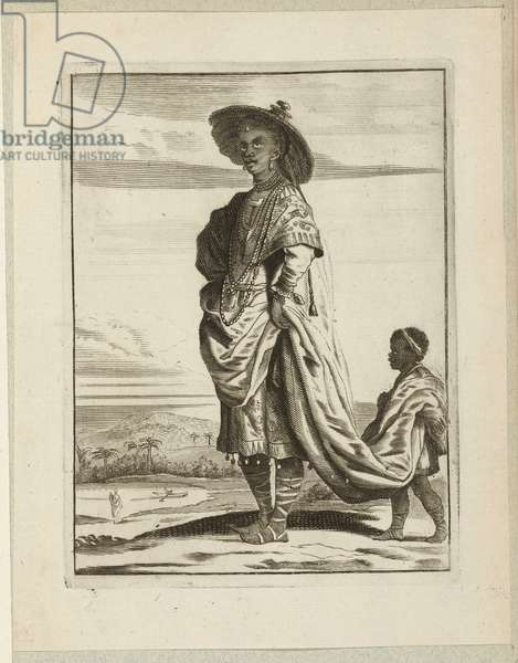 Black woman with child servant, c.1660 (etching)