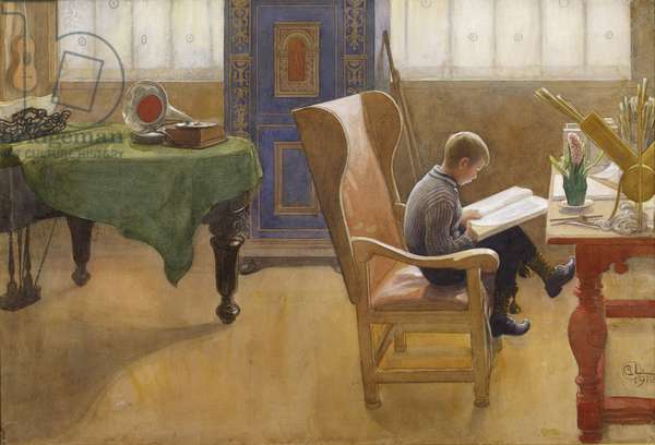 Esbjorn in the Study Corner, 1912 (w/c on paper)