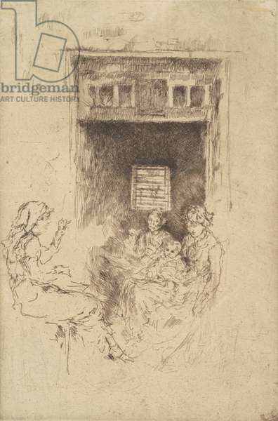 Bead-Stringers, 1880 (black etching on laid paper)