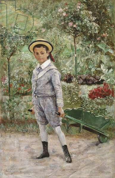 Boy with a Wheelbarrow, 1880 (oil on wood)