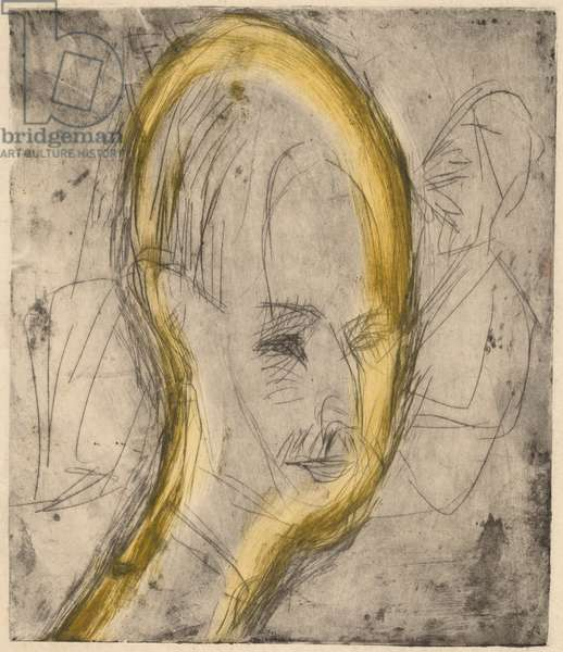 Head of Dr. Bauer, 1921 (etching and drypoint printed in black with yellow monotype wiping)