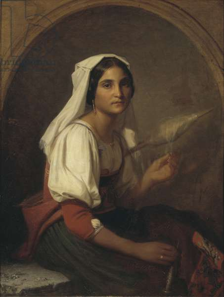An Italian Woman Spinning Flax, 1847 (oil on canvas)