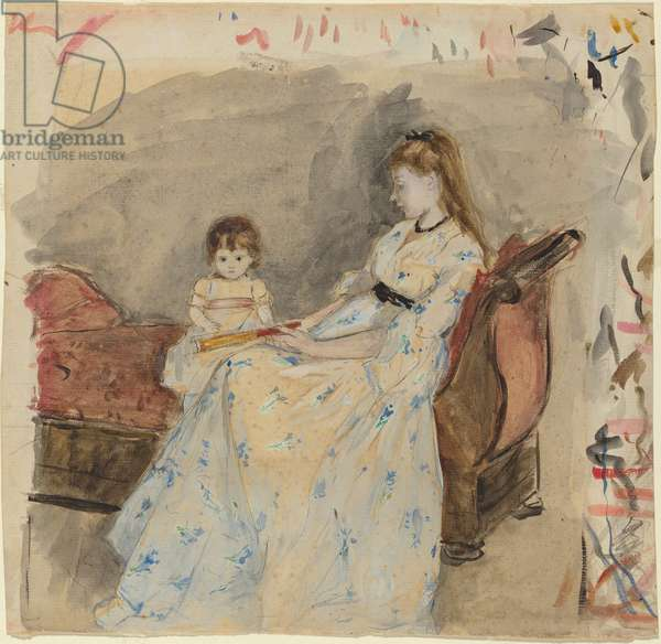 The Artist's Sister, Edma, with Her Daughter, Jeanne, 1872 (w/c over graphite on laid paper)