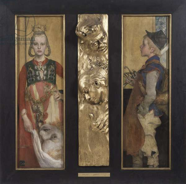A Swedish Fairytale, diptych with relief panel and frame, 1897 (oil on canvas and gilded wooden relief)