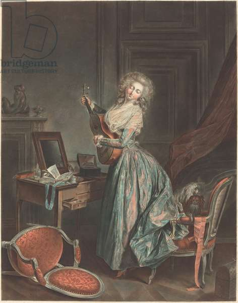 A Woman Playing the Guitar, 1788-9, engraved by Jean-François Janinet (etching and wash manner printed in colour inks)