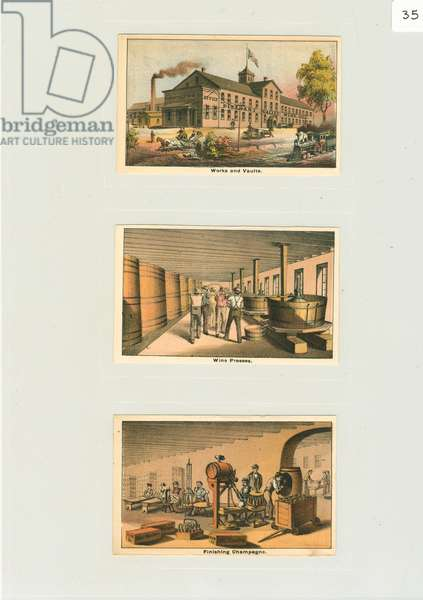 Trade cards for 'Works and vaults', c.1876 (colour litho)
