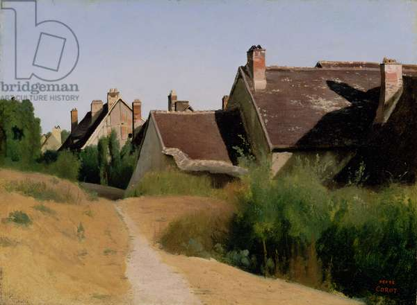 Houses near Orléans. c.1830 (oil on paper mounted on millboard)