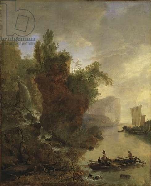 Bay with a Rocky Coast (oil on canvas)