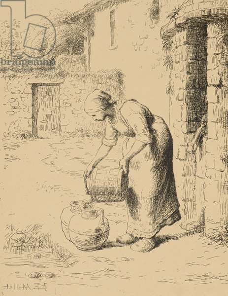 Woman Emptying a Bucket, 1862 (cliché verre)