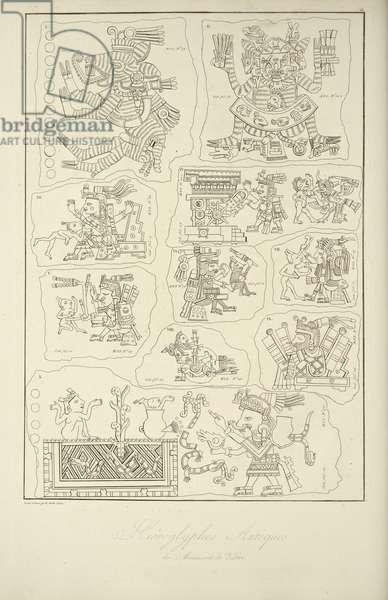 Aztec Hieroglyphics from the Manuscript of Veletri, illustration from 'Vues des Cordillères et Monumens des Peuples Indigènes de l'Amérique' by Alexander von Humboldt and Aime Bonpland, 1813 (engraving)