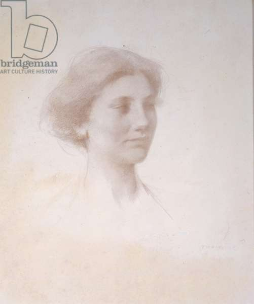 Head of a Girl, c.1909 (silverpoint on white prepared mat board)