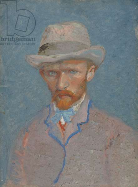 Self-Portrait with gray felt hat, 1887  (oil on canvas)