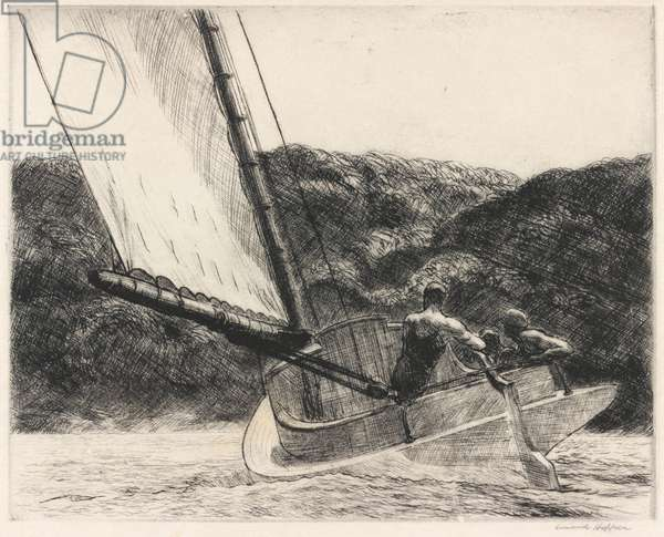 The Cat Boat, 1922 (etching)
