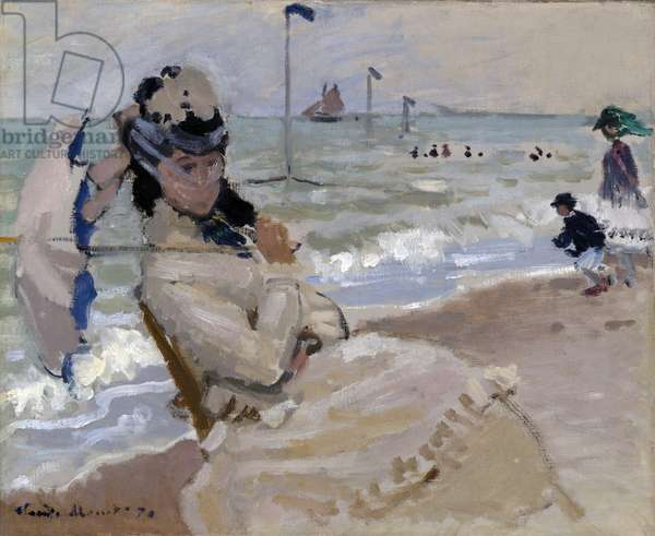Camille on the Beach in Trouville, 1870 (oil on canvas)