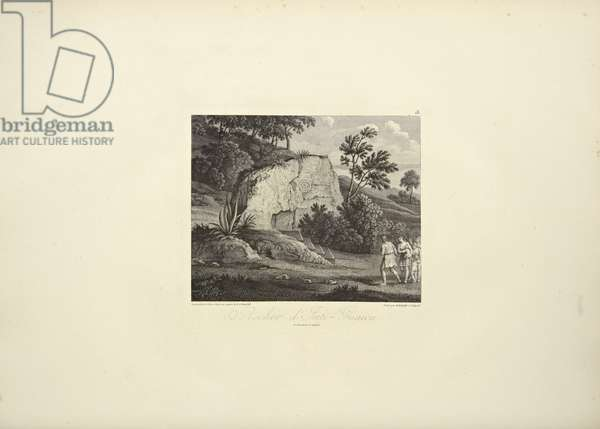 Rock of Inti-Guaicu, drawn by Koch, engraved by Dutterhoffer, illustration from 'Vues des Cordillères et Monumens des Peuples Indigènes de l'Amérique' by Alexander von Humboldt and Aime Bonpland, 1813 (engraving)