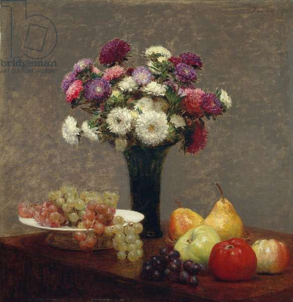 Asters and Fruit on a Table, 1863 (oil on canvas)