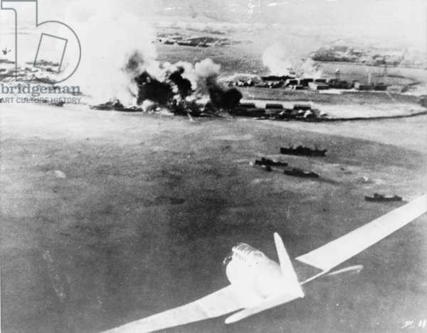Aerial photograph by a Japanese pilot of the destruction of Pearl Harbor, 1941 (b/w photo)
