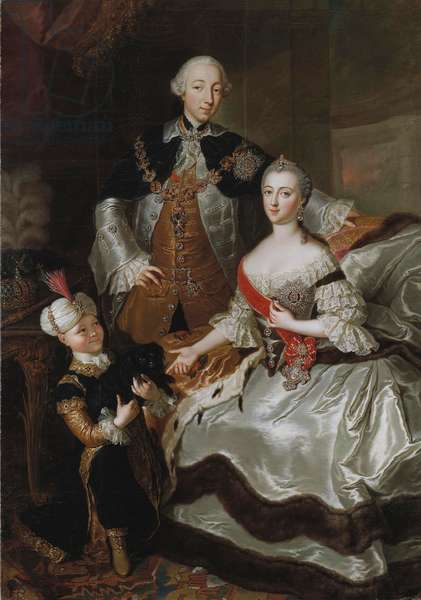 Peter III and Catherine II of Russia with a page c.1756 (oil on canvas)