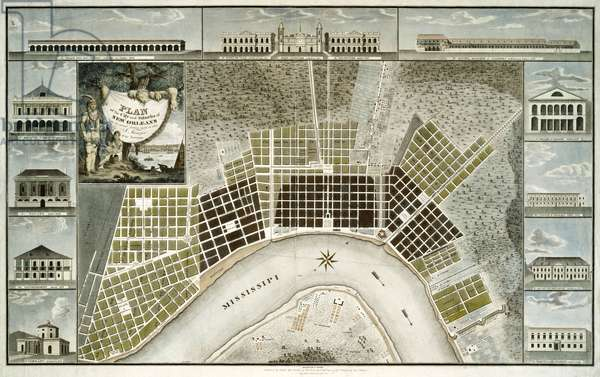 Plan of the city and suburbs of New Orleans, 1817 (hand-coloured engraving)