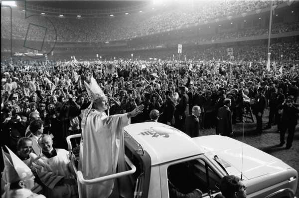 Pope John Paul II's first U.S. visit at Yankee Stadium, 1979 (b/w photo)