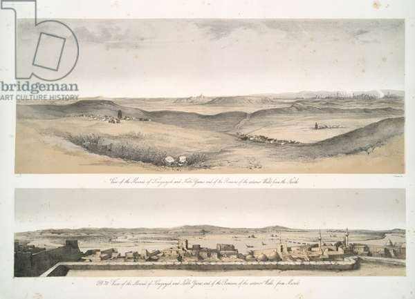 View of the mounds of Kouyunjik [Quyunjik] and Nebbi Yunus, and of the remains of the exterior walls, from Mosul, 1853 (lithograph)