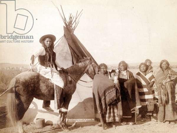 Lakota Indian women at tepee, 1891 (b/wphoto)