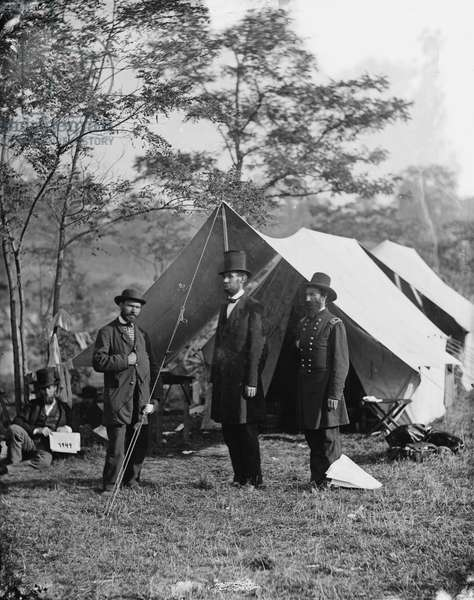 Abraham Lincoln with Allan Pinkerton and Major General John A. McClernand, 1862 (b/w photo)