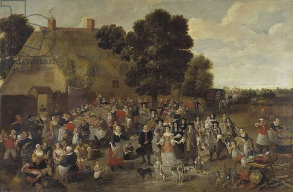 Village Wedding and Open Air Feast (oil on canvas)