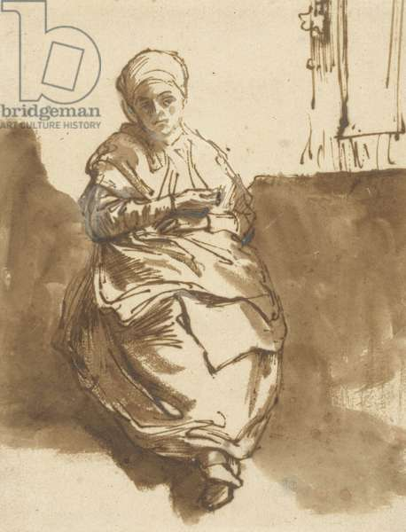 Saskia Sitting by a Window, c.1638 (pen, ink and wash on paper)
