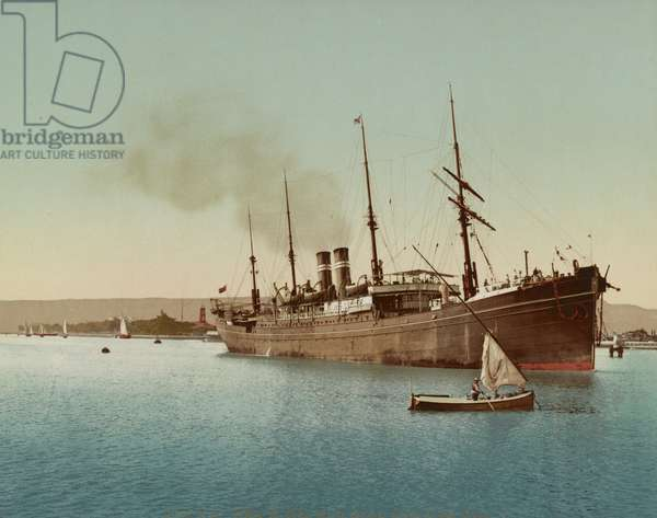Suez Canal, ship entering the Red Sea near Port Tewfic, c.1900 (colour photochrom)
