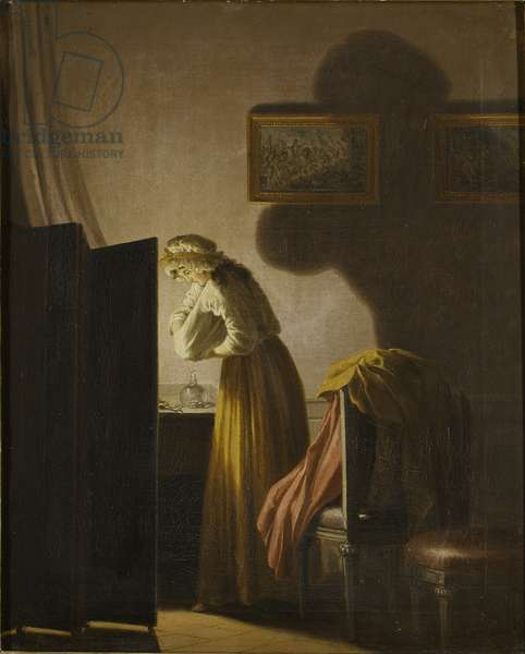 A Woman Picking Fleas by Candlelight (oil on canvas)
