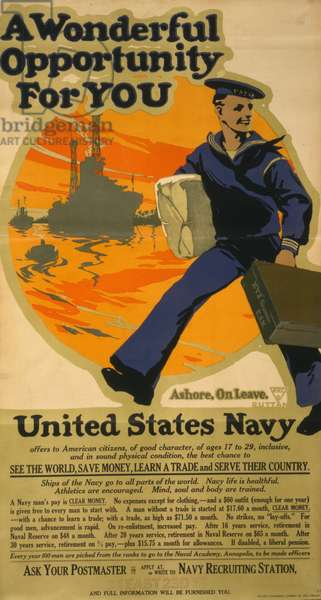 A wonderful opportunity for you--United States Navy, 1917 (colour lithograph)