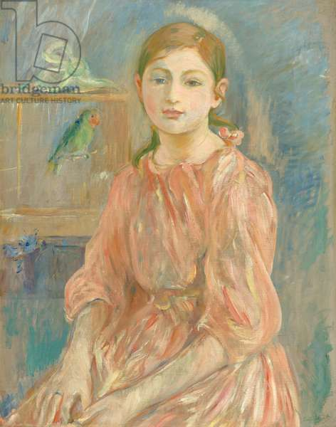 The Artist's Daughter with a Parakeet, 1890 (oil on canvas)