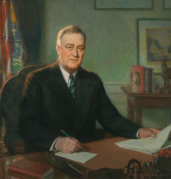 Franklin Delano Roosevelt (1882-1945), 1935 (oil on masonite)