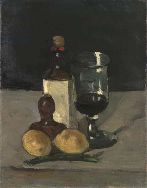 Still Life with Bottle, Glass, and Lemons, 1867-9 (oil on canvas)