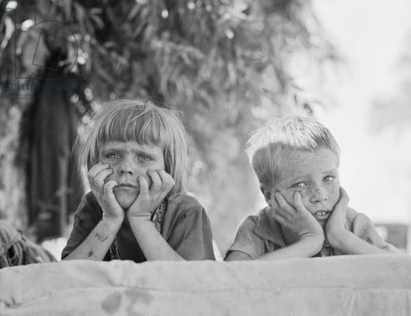 Children of Oklahoma drought refugee in migratory camp in California, 1936 (b/w photo)