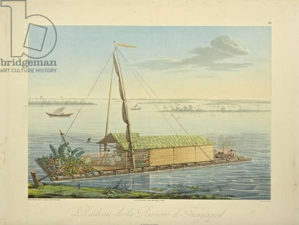 Raft on the River Guayaquil, drawn by Marchais, engraved by Bouquet, illustration from 'Vues des Cordillères et Monumens des Peuples Indigènes de l'Amérique' by Alexander von Humboldt and Aime Bonpland, 1813 (hand-coloured aquatint)