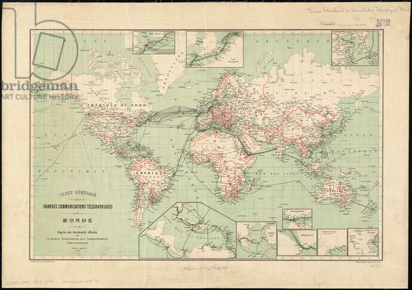 World map of telegraph lines published by the International Telegraph Bureau, 1901