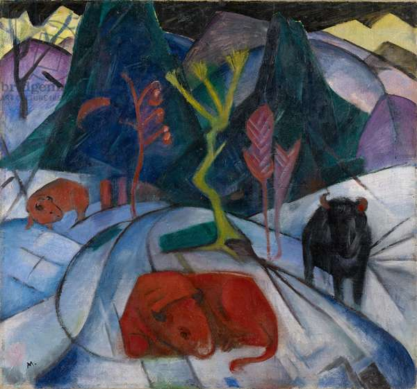 A Bison in Winter (The Red Bison), 1913 (oil on canvas)