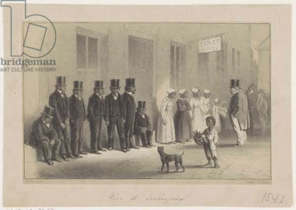 A Slave-Pen at New Orleans -- before the Auction, 1863 (lithograph)