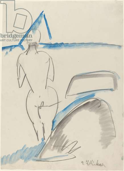 Bather on the Beach, 1912-13 (black crayon with blue and gray wash)