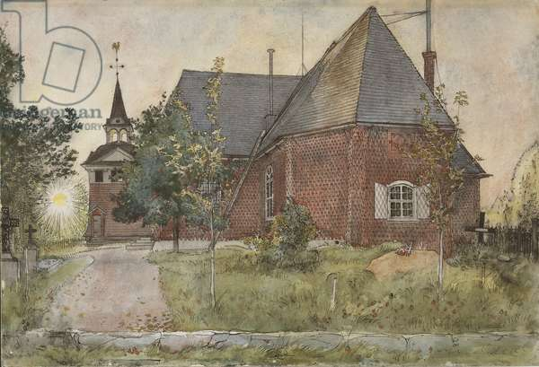 Old Sundborn Church, from 'A Home' series, c.1895 (w/c on paper)
