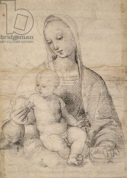Madonna of the pomegranate, c.1504 (black-grey chalk)
