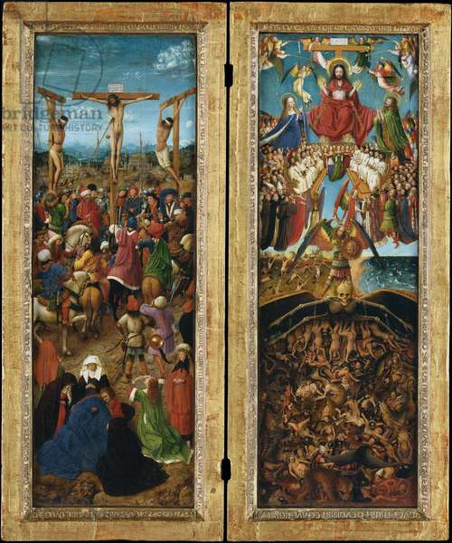 The Crucifixion; The Last Judgment, c.1440-41 (oil on canvas transferred from wood)