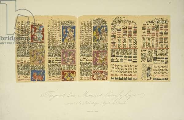 Fragment of a Hieroglyphic Manuscript Conserved at the Royal Library, Dresden, illustration from 'Vues des Cordillères et Monumens des Peuples Indigènes de l'Amérique' by Alexander von Humboldt and Aime Bonpland, 1813 (hand-coloured engraving)