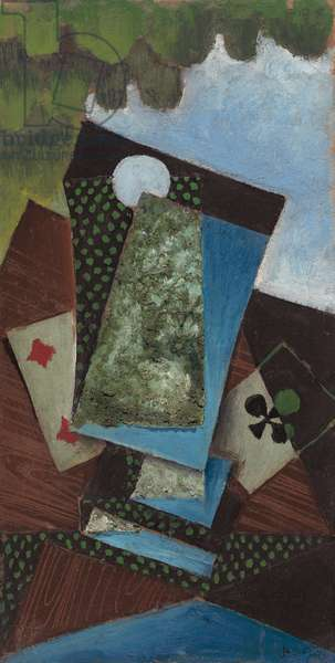 Ace of Clubs and Four of Diamonds, 1912 (oil on board)