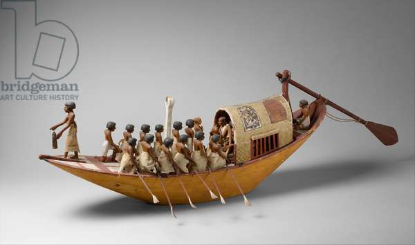 Travelling Boat being Rowed from the Tomb of Meketre, c.1981–1975 B.C. (wood, paint, gesso, linen twine and linen)